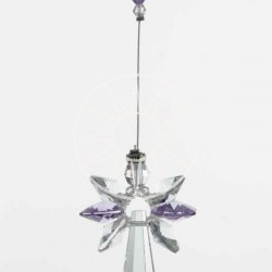 June Birthstone Light Amethyst Crystal Large Guardian Angel Hanging Charm