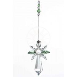 August Birthstone Peridot Crystal Large Guardian Angel Hanging Charm