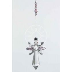 October Birthstone Rose Crystal Large Guardian Angel Hanging Charm
