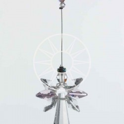 October Birthstone Rose Crystal Large Guardian Angel Hanging Charm
