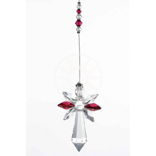 July Birthstone Ruby Crystal Large Guardian Angel Hanging Charm