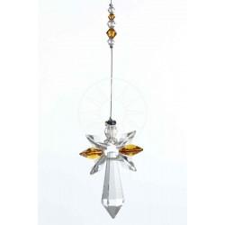 November Birthstone Topaz Crystal Large Guardian Angel Hanging Charm