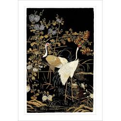 Ashmolean Cranes Japanese Eastern Art Blank Greeting Card Woodmansterne