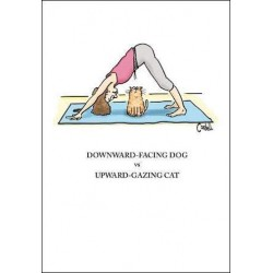 Yoga vs Cat - Humorous Blank Unisex Greeting Card - By Cordell Cartoons