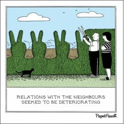 Cutting the Hedge - Neighbours Relations Deteriorating - Humorous Blank Card - Fred by Rupert Fawcett