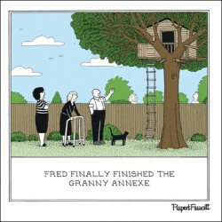 Granny Annexe - Tree House - Humorous Blank Card - Fred by Rupert Fawcett