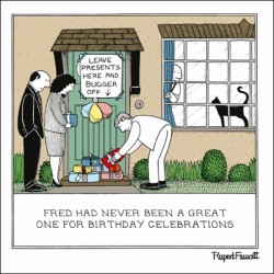 Doorstep Presents - Introvert Birthday Stay Home - Humorous Blank Card - Fred by Rupert Fawcett