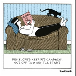 Sofa Aerobics - Keep Fit - Humorous Blank Card - Fred by Rupert Fawcett