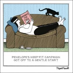 Sofa Aerobics - Keep Fit - Humorous Blank Card - Fred by Rupert Fawcett