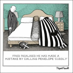Barbed Wire - Cuddly Mistake - Humorous Blank Card - Fred by Rupert Fawcett