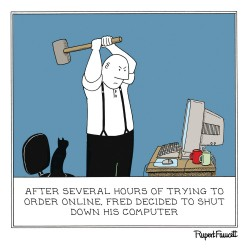 Computer Destruction - Online Order Shut Down - Humorous Blank Card - Fred by Rupert Fawcett