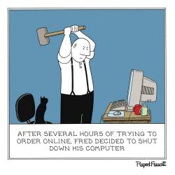 Computer Destruction - Online Order Shut Down - Humorous Blank Card - Fred by Rupert Fawcett