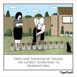 Dragons Den Invention - Humorous New Normal Blank Card - Fred by Rupert Fawcett