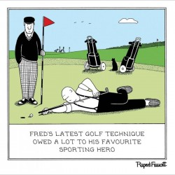 Latest Golf Technique - Humorous New Normal Blank Card - Fred by Rupert Fawcett