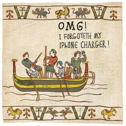 OMG Forgot my iPhone Charger - Humorous Card - Hysterical Heritage by Ian Blake