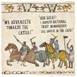 Castle National Trust Membership The Bayeux Tapestry - Humorous Card - Hysterical Heritage by Ian Blake