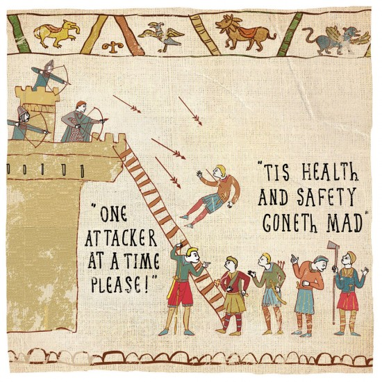 Health & Safety Gone Mad - Humorous Blank Card - Hysterical Heritage by Ian Blake