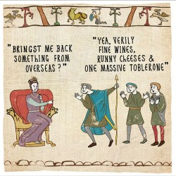 Overseas Fine Wine, Cheese & Massive Toblerone - Humorous Card - Hysterical Heritage by Ian Blake
