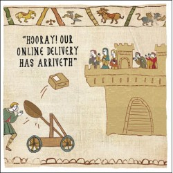 Hooray Online Delivery Has Arrived - Humorous New Normal Greeting Card - Hysterical Heritage by Ian Blake (488306)