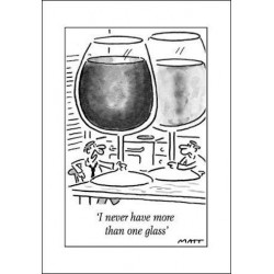 MATT - I Never Have More Than One Glass - Humorous Blank Birthday Funny Greeting Card