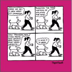 Keep Fit Lockdown Funny Dog Walk Humour Greeting Card New Normal - Off The Leash (085443)