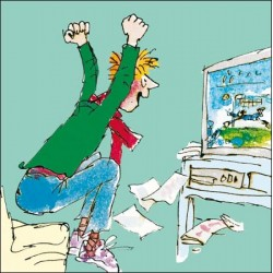 Man Watching Footie Football Match Happy Birthday Greeting Card By Quentin Blake