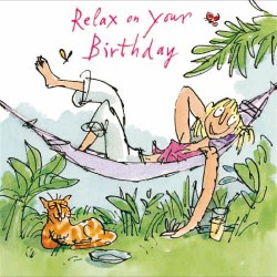 Lounging Around Hammock Relax on Your Birthday Card for Her By Quentin Blake (275944)