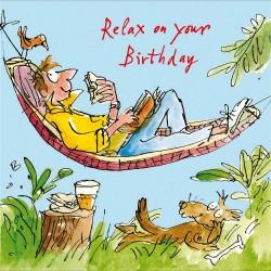 Man Relaxing in Garden Hammock Happy Birthday Greeting Card By Quentin Blake