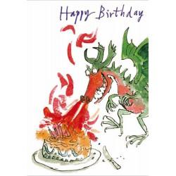 Happy Birthday - Dragon Cake Make a Wish Greeting Card By Quentin Blake