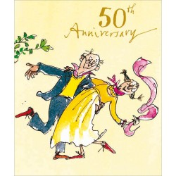 50th Golden Anniversary Whirlwind Romance Greeting Card By Quentin Blake