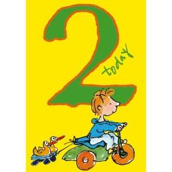 2 Today Boy 2nd Birthday Card - Bike & Ducks - By Quentin Blake