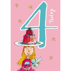 4 Today Girl 4th Birthday Card - Jelly Cake - By Quentin Blake