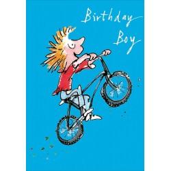Birthday Boy - Biker Bicycle Skills Greeting Card By Quentin Blake