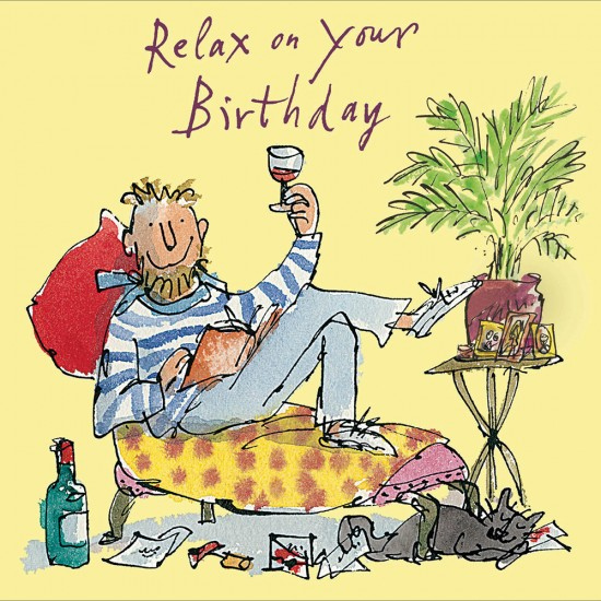 Relax Time for Wine Male Happy Birthday Greeting Card By Quentin Blake