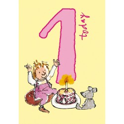 1 Today Girl 1st Birthday Card - Cake & Teddy - By Quentin Blake