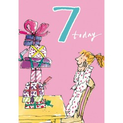 7 Today Girl 7th Birthday Card - Present Mountain - By Quentin Blake