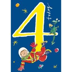 4 Today Boy 4th Birthday Card - Space Boy - By Quentin Blake