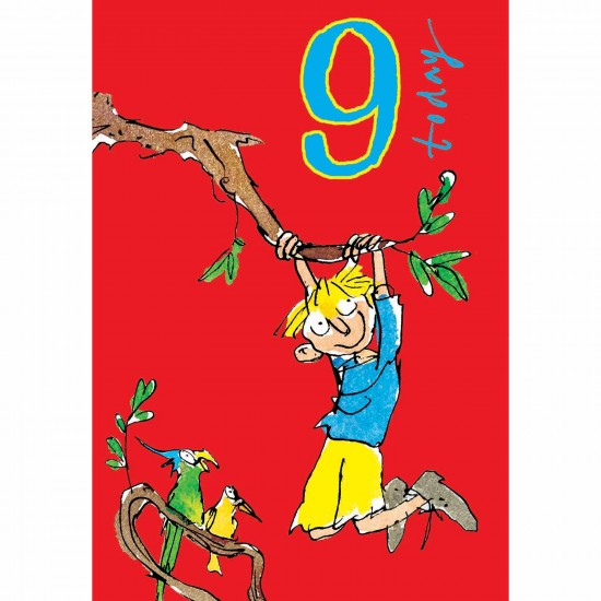 9 Today Boy 9th Birthday Card - Tree Swing - By Quentin Blake