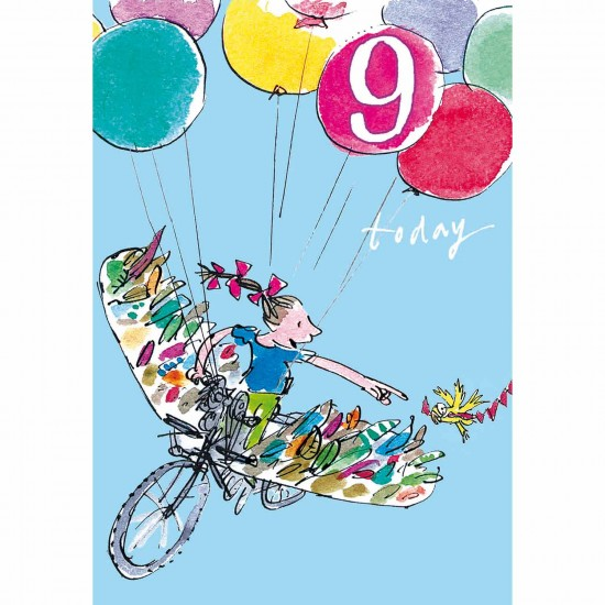 9 Today Girl 9th Birthday Card - Balloon Bicycle - By Quentin Blake