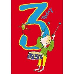 3 Today Boy 3rd Birthday Card - Drummer Boy - By Quentin Blake