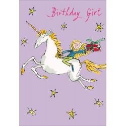 Birthday Girl - Unicorn Present Greeting Card By Quentin Blake