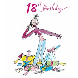 18th Birthday Woman With Lots of Gifts Presents Female Greeting Card By Quentin Blake