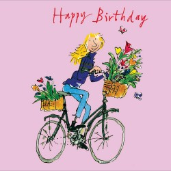 Lady on Bicycle Happy Birthday Greeting Card By Quentin Blake