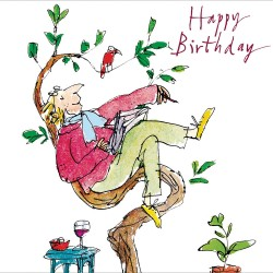 Just Resting in Tree with Book Wine  Happy Birthday Greeting Card for Him By Quentin Blake (452486)