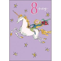 8 Today Girl 8th Birthday Card - Unicorn Stars - By Quentin Blake
