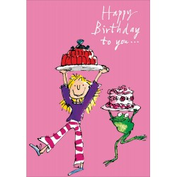 Happy Birthday to you - Time for Jelly & Cake Girl with Frog Greeting Card By Quentin Blake