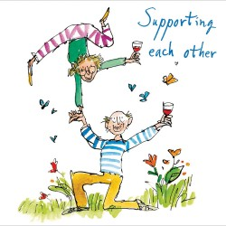 Supporting Each Other The New Normal Blank Greeting Card By Quentin Blake (471841)