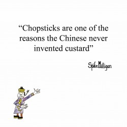 Chopsticks No Custard in China - Funny Humorous Blank Greeting Card by Spike Milligan - Woodmansterne