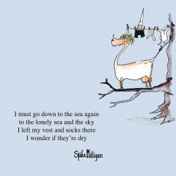 Down The Sea Clothes Line - Funny Humorous Blank Greeting Card by Spike Milligan - Woodmansterne