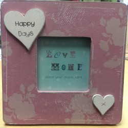 Happy Days Love Home Pink Wooden Photo Frame